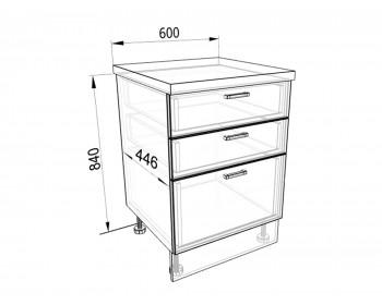Кухонный гарнитур Тумба напольная 60 с 3-мя ящиками Люкс