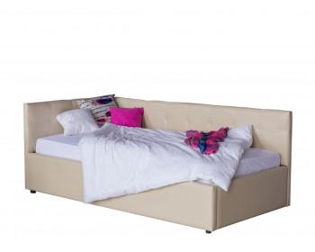 Кровать Односпальная -тахта Bonna 900 беж кожа с подъемным механи