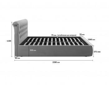 """Бежевая двуспальная кровать """"Амели"""" 1400 с мягкой спинкой"""