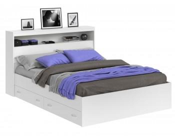 Кровать Виктория белая 140 с блоком и ящиками