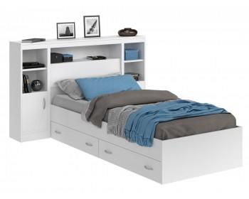 Кровать Виктория белая 90 с блоком, тумбами и ящиками