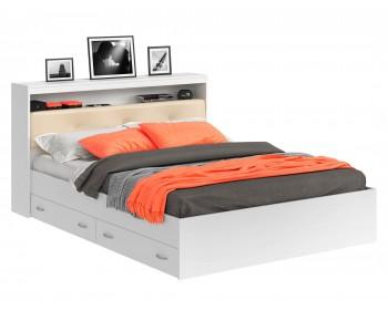 Кровать Виктория ЭКО-П белая 180 с блоком и ящиками