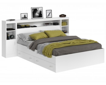 Кровать Виктория белая 160 с блоком, тумбами, ящиками и матрасом