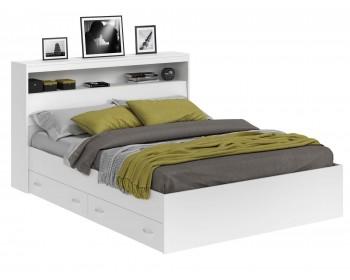 Кровать Виктория белая 160 с блоком, ящиками и матрасом PROMO B