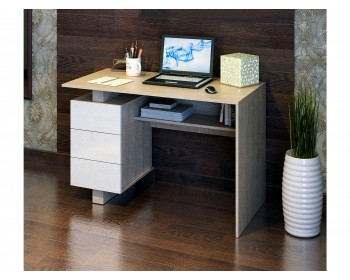 Стол компьютерный Ренцо-2 дуб сонома / белый