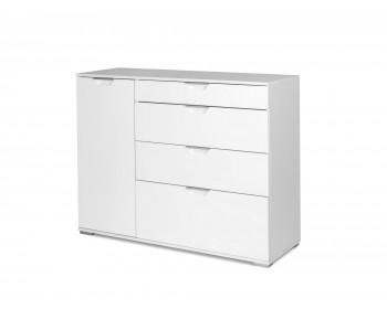 Комод Лайн-3 (Фасады МДФ) белый/белый глянец