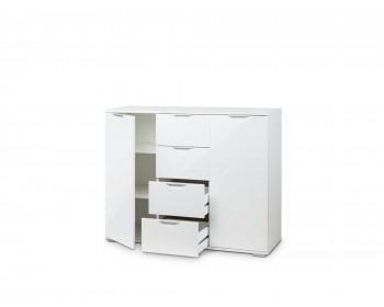 Комод Лайн-4 (Фасады МДФ) белый/белый глянец