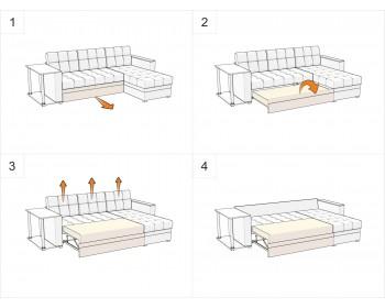 Кожаный диван Атланта-Эконом Астра Браун со столиком