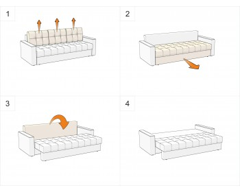 Прямой диван Атланта-Эконом Изи Браун со столиком